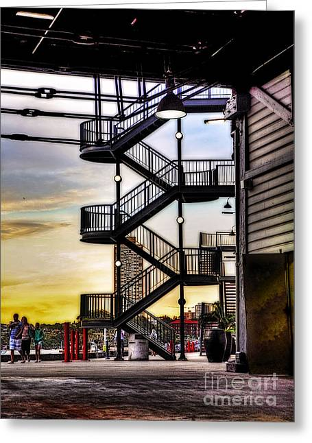 Sunset Behind The Stairs Greeting Card