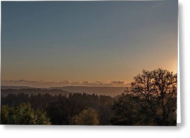 Sunset Behind Tree With Forest And Mountains In The Background Greeting Card