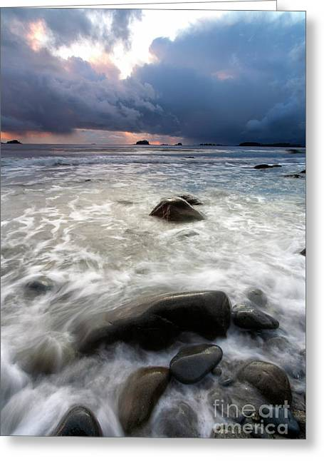 Sunset Beneath The Storm Greeting Card by Mike Dawson