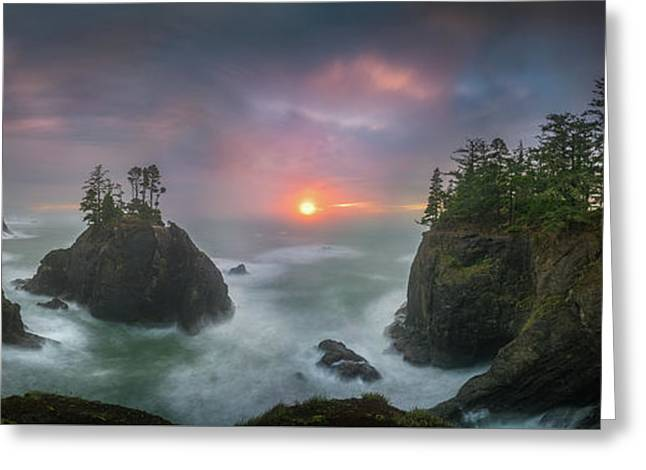 Greeting Card featuring the photograph Sunset Between Sea Stacks With Trees Of Oregon Coast by William Lee