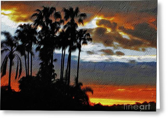 Sunset Beyond The Palms Greeting Card
