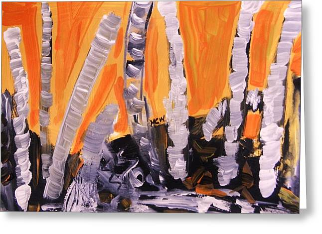 Sunset Birches Greeting Card by Mary Carol Williams