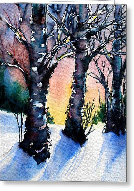 Trio Mixed Media Greeting Cards - Sunset Birches on the Rise Greeting Card by Kathy Braud