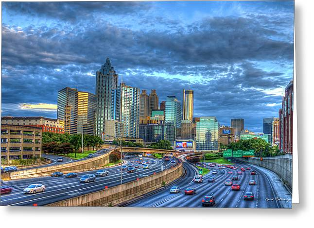 Greeting Card featuring the photograph Sunset Blue Glass Reflections Atlanta Downtown Cityscape Art by Reid Callaway