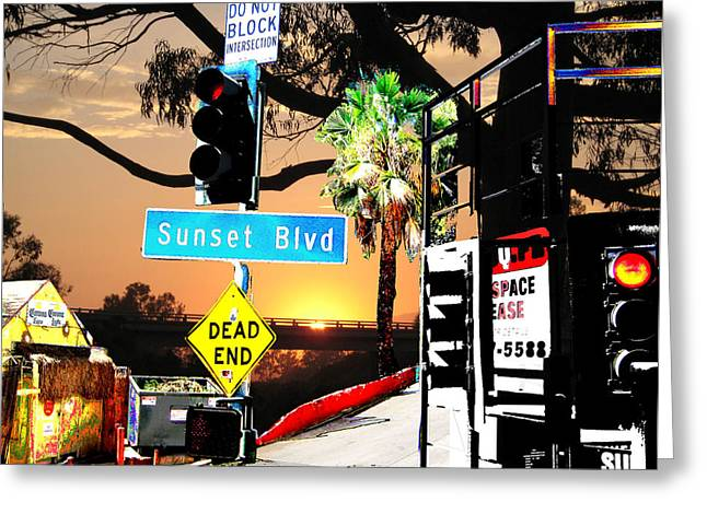 Sunset Blvd Meets Sunset Greeting Card by Maria Kobalyan