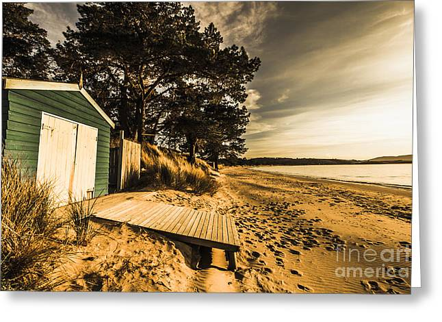 Sunset Boat Shed Greeting Card by Jorgo Photography - Wall Art Gallery
