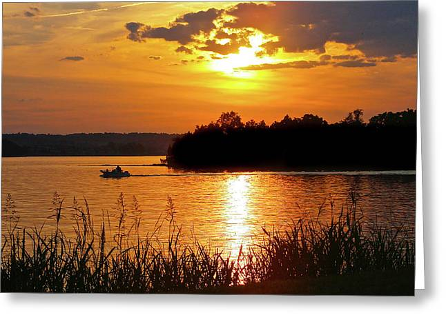 Sunset Boater, Smith Mountain Lake Greeting Card