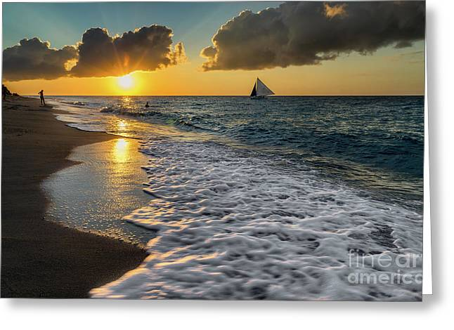 Sunset Boracay Greeting Card by Adrian Evans