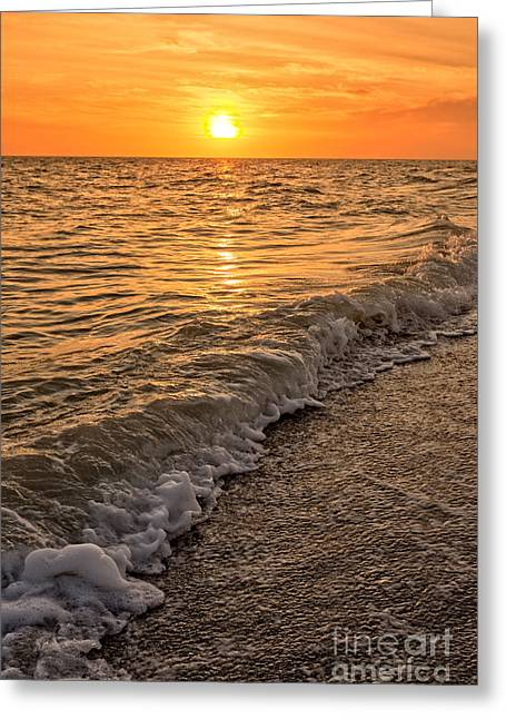 Sunset Bowman Beach Sanibel Island Florida  Greeting Card by Edward Fielding