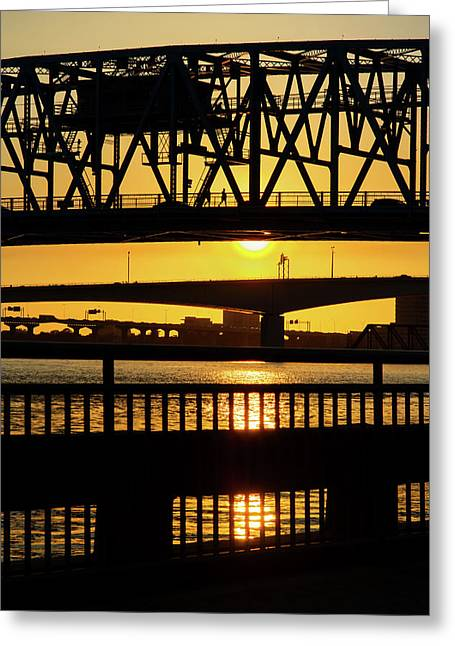 Greeting Card featuring the photograph Sunset Bridge 2 by Arthur Dodd