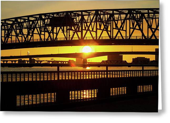 Sunset Bridge 3 Greeting Card