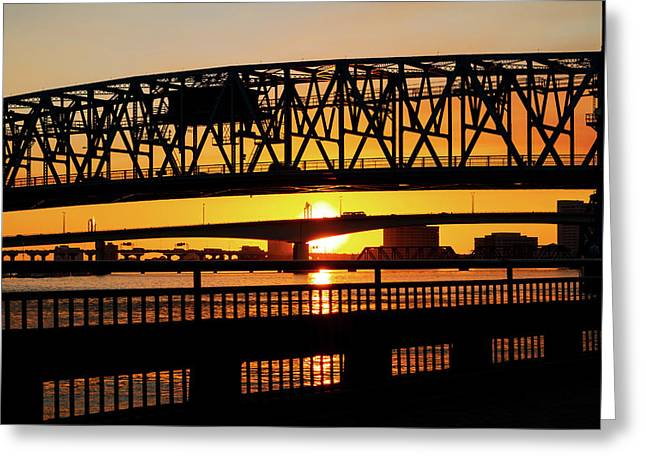 Sunset Bridge 4 Greeting Card