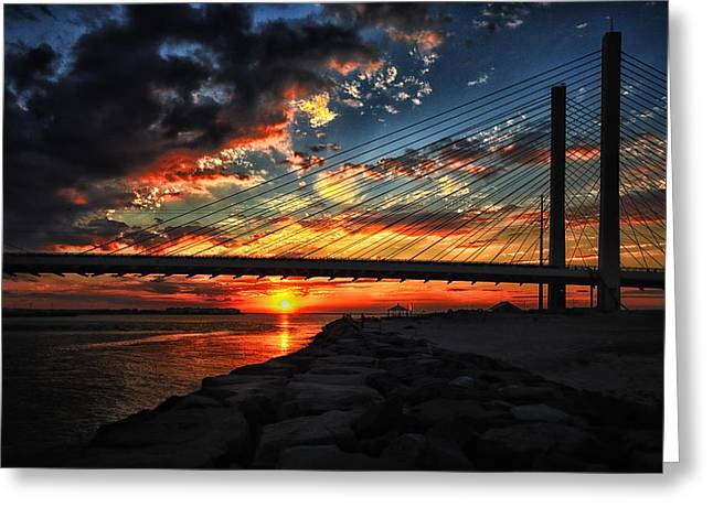 Sunset Bridge At Indian River Inlet Greeting Card