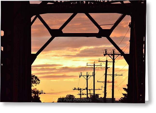 Sunset Bridge Greeting Card by Marc Meadows