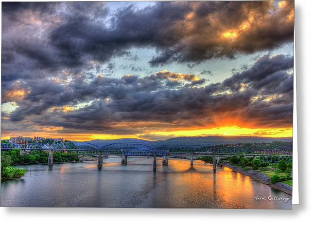Sunset Bridges Of Chattanooga Walnut Street Market Street Greeting Card by Reid Callaway