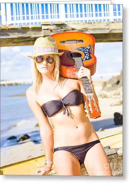 Sunset Busker Holding Guitar In Tropical Paradise Greeting Card