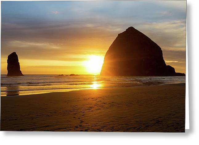 Sunset By Haystack Rock At Cannon Beach Greeting Card by David Gn