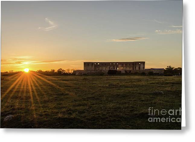 Greeting Card featuring the photograph Sunset By Old Castle Ruin by Kennerth and Birgitta Kullman