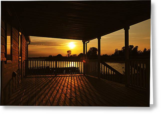 Sunset By The Beach Greeting Card by Angel Cher