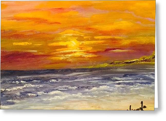 Sunset By The Beach Greeting Card by Nirmala Jetty