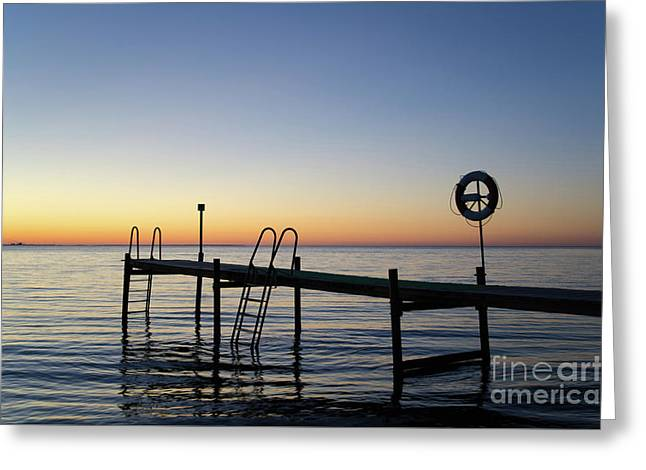 Sunset By The Old Bath Pier Greeting Card
