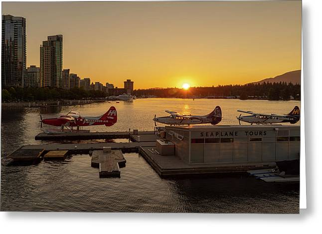Sunset By The Seaplanes Greeting Card