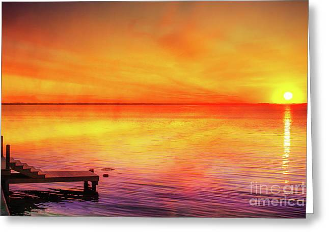 Greeting Card featuring the digital art Sunset By The Shore by Randy Steele