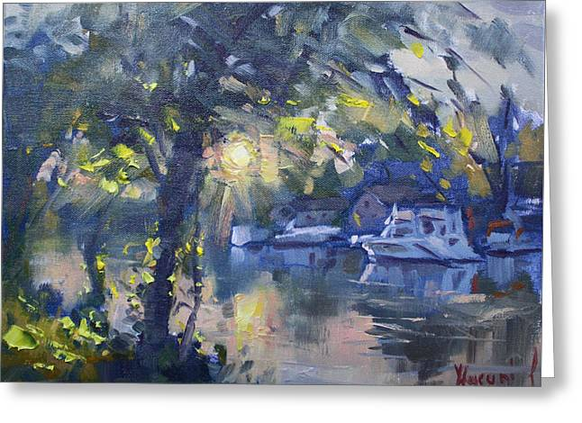 Sunset By The Water Greeting Card