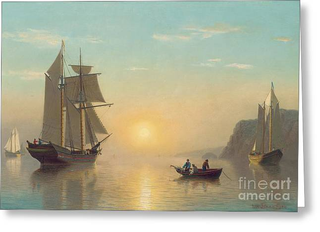 Calm Waters Paintings Greeting Cards - Sunset Calm in the Bay of Fundy Greeting Card by William Bradford