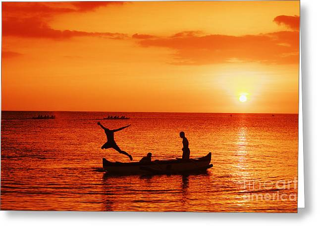 Sunset Canoe Jump Greeting Card by Vince Cavataio - Printscapes