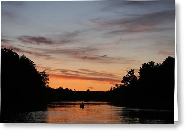 Sunset Canoe Greeting Card by Ty Helbach