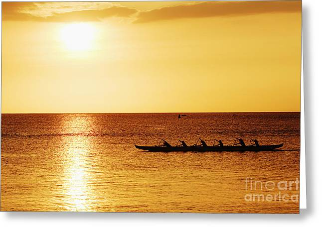 Sunset Canoe Greeting Card by Vince Cavataio - Printscapes