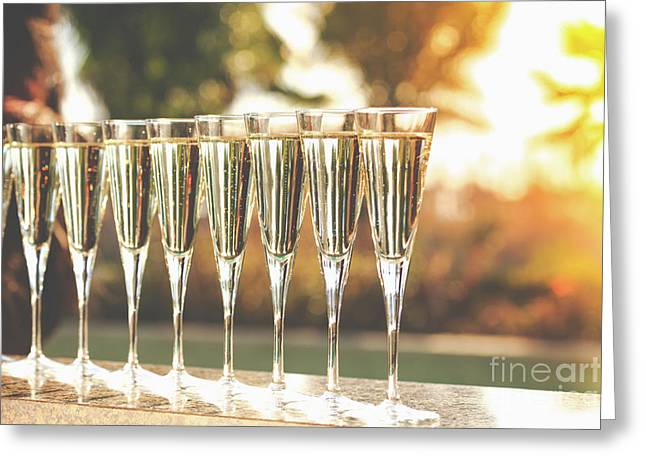 Sunset Champagne Greeting Card