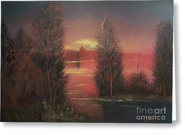Sunset Greeting Card by Chet Wheeler