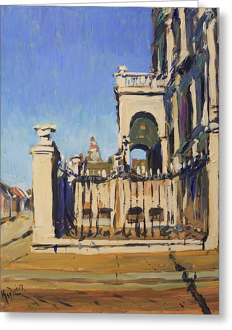 Sunset Cityhall Maastricht Entrance Greeting Card by Nop Briex