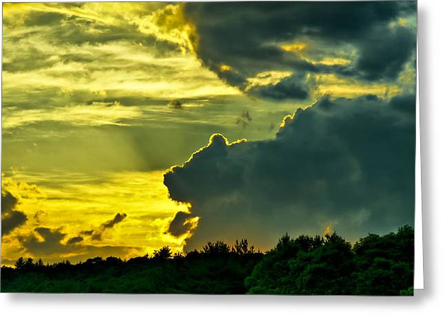 Sunset Cloud Animal Greeting Card by Edward Myers