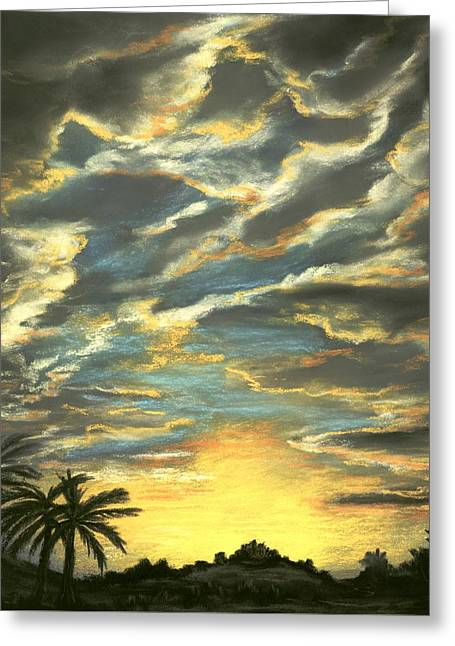 Greeting Card featuring the painting Sunset Clouds by Anastasiya Malakhova