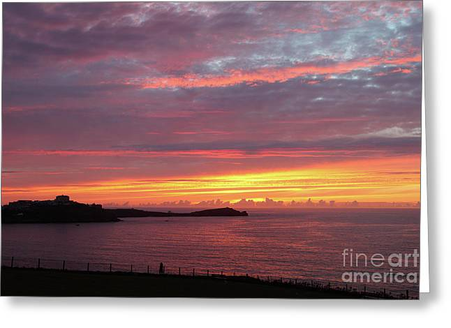 Greeting Card featuring the photograph Sunset Clouds In Newquay Cornwall by Nicholas Burningham