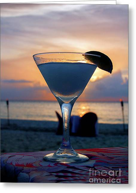 Sunset Cocktail At The Beach Greeting Card