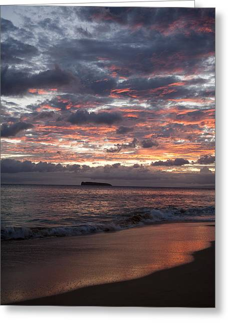 Sunset Colors At Makena Greeting Card by Peter French - Printscapes