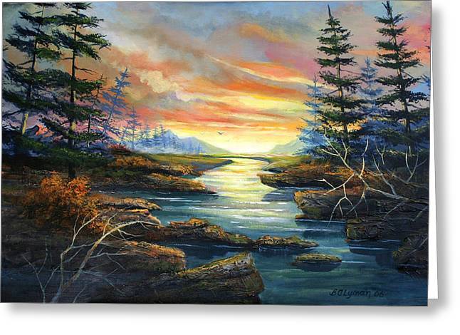 Sunset Creek Greeting Card by Brooke Lyman