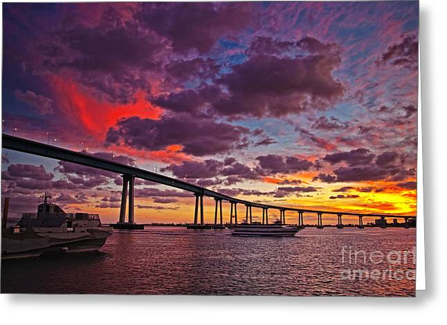 Sunset Crossing At The Coronado Bridge Greeting Card