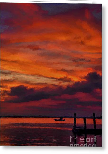Sunset Cruise  Greeting Card by Dave Bosse