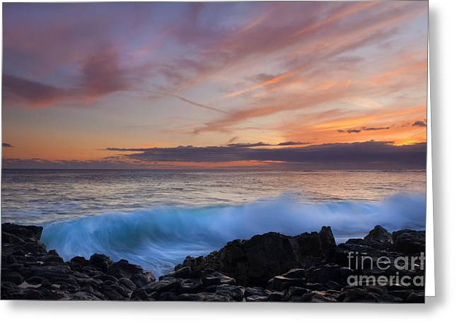 Sunset Curl Greeting Card by Mike Dawson
