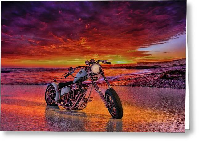 Greeting Card featuring the photograph sunset Custom Chopper by Louis Ferreira