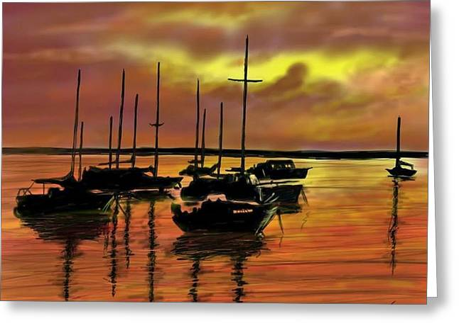 Greeting Card featuring the digital art Sunset by Darren Cannell
