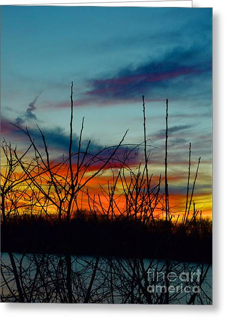 Sunset Delaware River Trenton - Contemporary Art Greeting Card