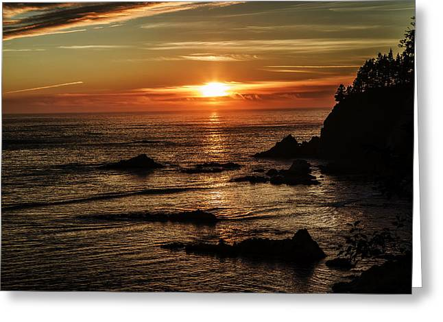 Sunset As Sunset Bay Greeting Card by Dennis Adams