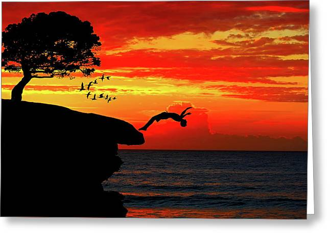 Sunset Dive Greeting Card