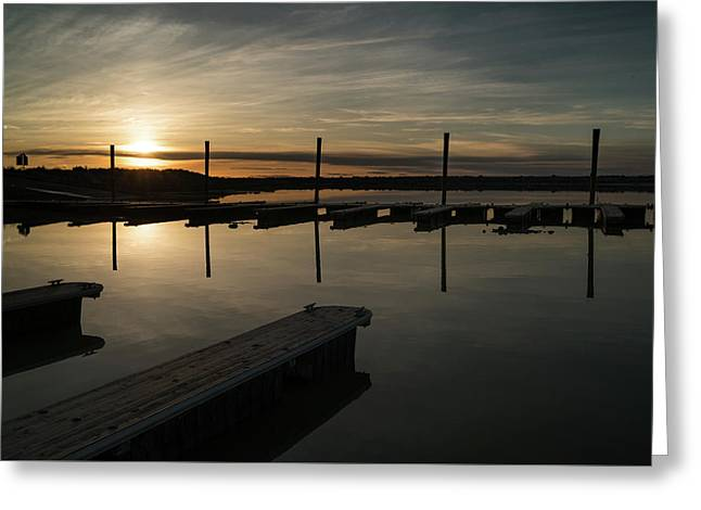 Sunset Docks Greeting Card by Justin Johnson